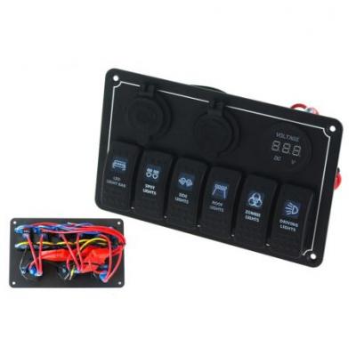 Водоустойчив OFFROAD панел с 6 Carling Rocker превключватели (IP68)